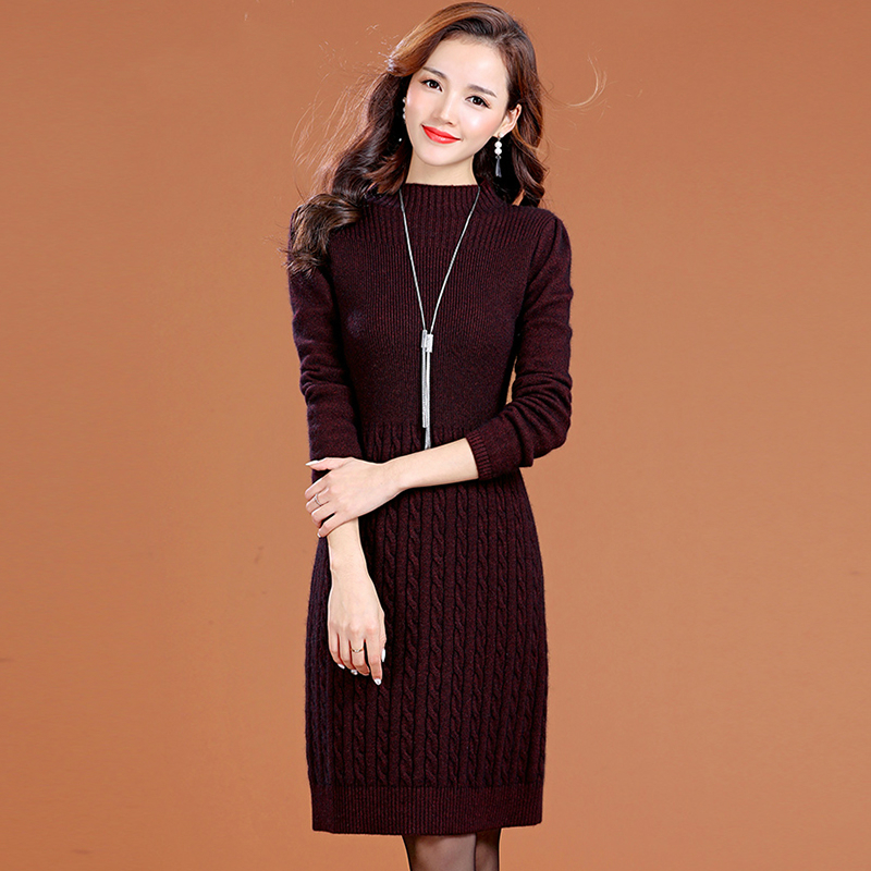 2018 new autumn and winter thick snow wear warm office lady empire plus size wool brand female women girls dress clothes