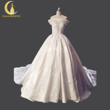 Rhine Real Picture Sexy Luxurious Boat Neck Appliques Beading Hot Desigh Ball Gown Bridal New Arrival Wedding Dresses