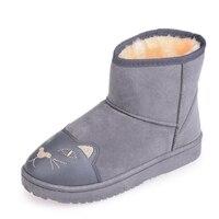 2017 nuevas llegadas de las mujeres botas de invierno de las mujeres de estampados de animales de felpa gruesa de alta calidad zapatos antideslizantes botas de nieve dulce botas
