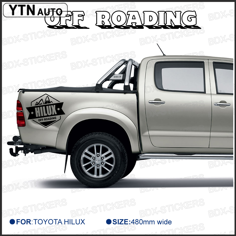 car sticker 2 PC rear trunk tail gate 4X4 off road graphic vinyls car accessories custom FOR TOYOTA HILUX vigo revo in Car Stickers from Automobiles Motorcycles