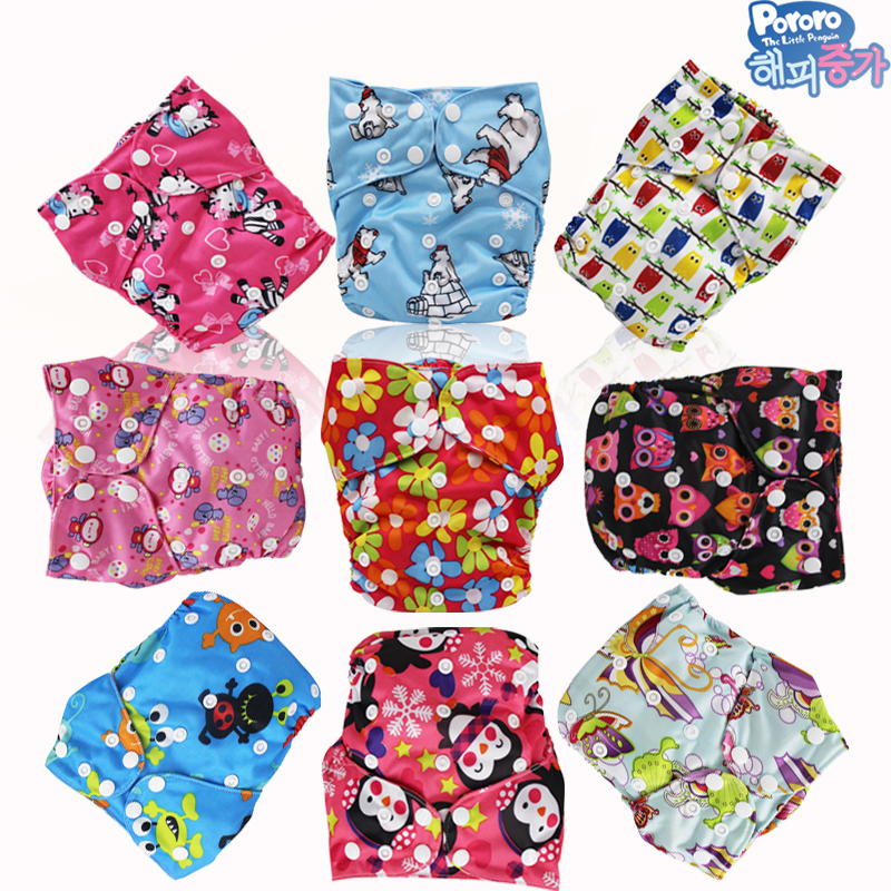One Sizes Fits All In One Reusable Diaper Of 2 Pororo PUL Print Cloth Diapers Nappies With 4 Bamboo Inserts Liners Free Shipping