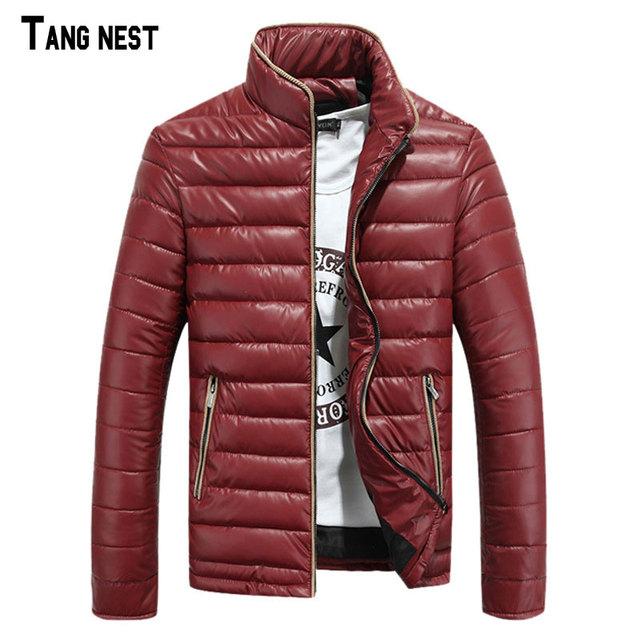 Tangnest masculino parkas sólidos new outono & inverno dos homens stand-collar collar parkas acolchoadas casaco estilo de moda quente para o homem 819