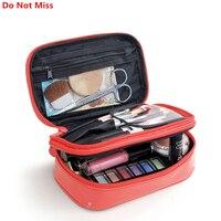 PLEEGA Women Cosmetic Bags Portable Patent Leather Waterproof Make Up Bag Travel Makeup Case Beauty Box