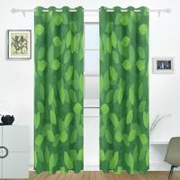 Green Leaves Curtains Drapes Panels Darkening Blackout Grommet Room Divider For Patio Window Sliding Glass Door