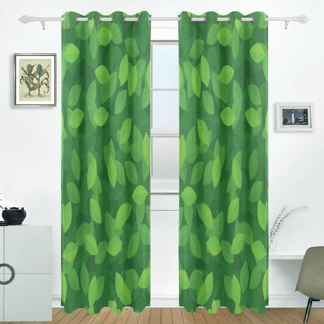 Delicieux Green Leaves Curtains Drapes Panels Darkening Blackout Grommet Room Divider  For Patio Window Sliding Glass Door
