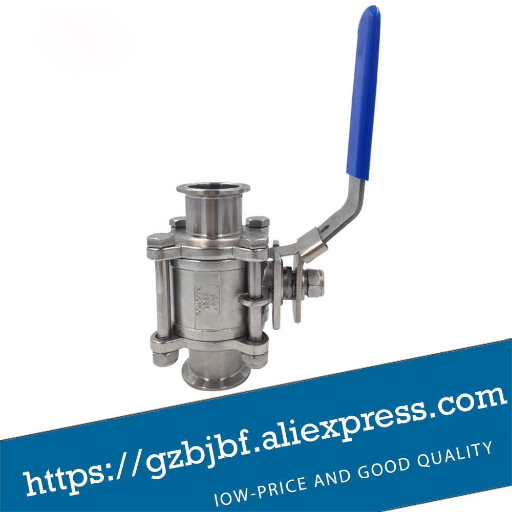 DN40 Stainless steel 304 Quick Install Three Way Ball Valve 2 sanitary stainless steel ball valve 2 way 304 quick installed food grade pneumatic valve double acting straight way valve
