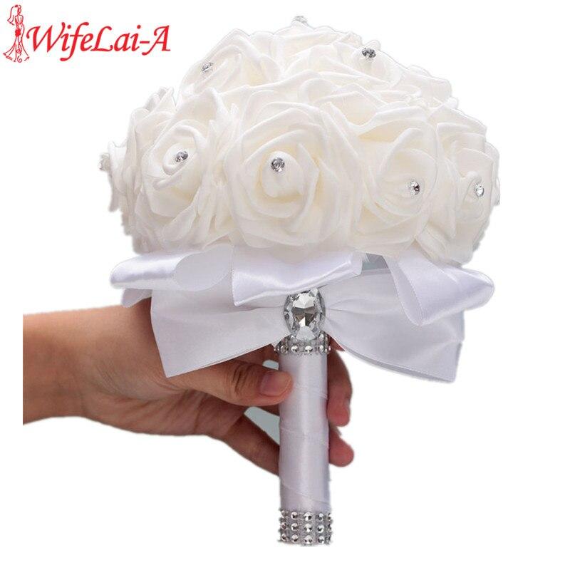 Stock Pure White PE Flower Foam Wedding Bouquet De Mariage Wedding Bouquets AND Ivory Cream PE Rose Diamond Ribbon Bouquet W2018