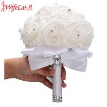 Чистый белый цветы из материала PE пена Букеты Свадебные De Mariage Букеты Свадебные s и молочного цветов, цвета слоновой кости для девочек в Форме Розы Алмаз Лента букет W2018