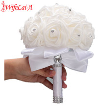 Stock Pure White PE Flower Foam Wedding Bouquet De Mariage Bouquets AND Ivory Cream Rose Diamond Ribbon W2018