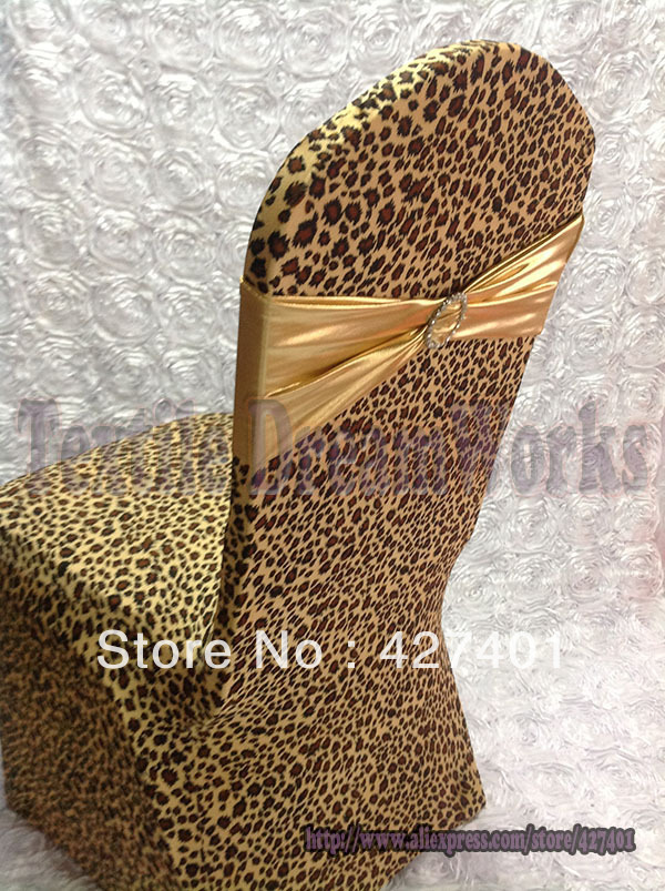 New Products Leopard Print Lycra Chair Cover Arch Front