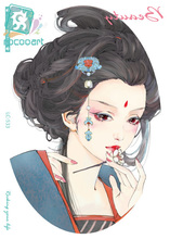Rocooart LC 533 21 15cm Large Fashion Tatoo Sticker Sketch Three Kingdoms Da Qiao Cool Temporary