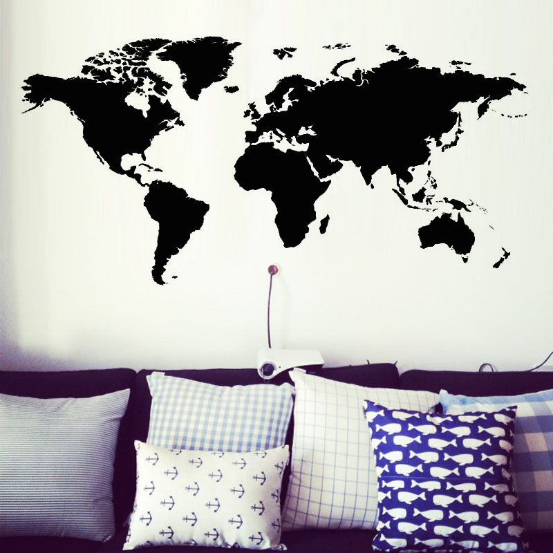 Creative Home Decor World Map Atlas Wall Sticker Black Printed Bedroom Decorative Removable Adhesive Vinyl Wall Decal
