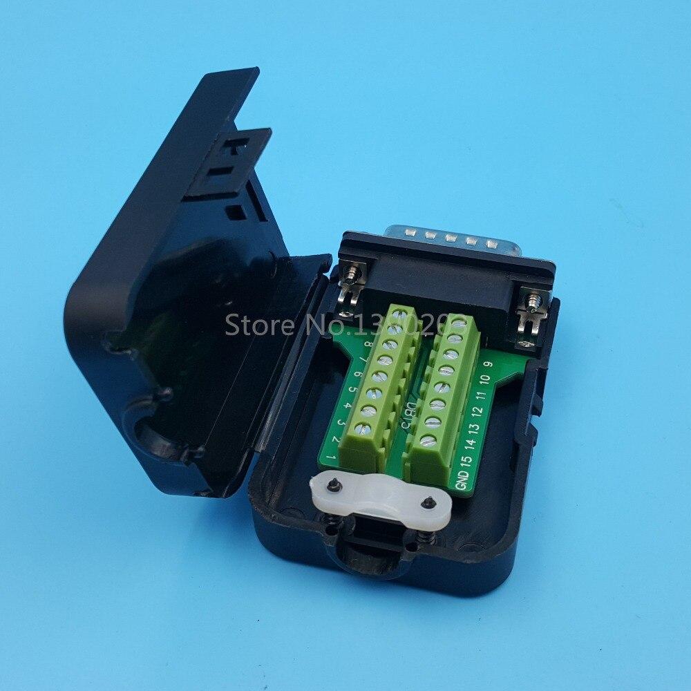 DB15 15 Pin D-SUB 2-Row male Terminal Breakout Plastic cover nut 3+9 BLACK
