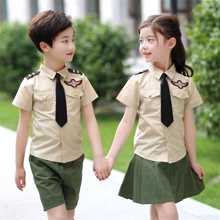 New Kids Army School Uniform College Girl Skirt Air Force Student Clothing Summer Short Sleeve Soldier Sailor Military Uniform
