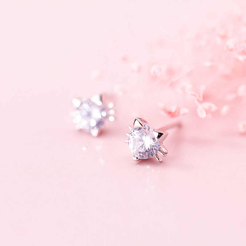 Promotion Cute Little Cat Animal Shine Cubic Zirconia 925 Sterling Silver Ladies Stud Earrings Wholesale Jewelry For Women Cheap