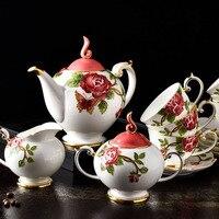 Элегантный цветочный кофейный сервиз из костяного фарфора, британский фарфоровый чайный сервиз, Европейский керамический чайник, сливочни