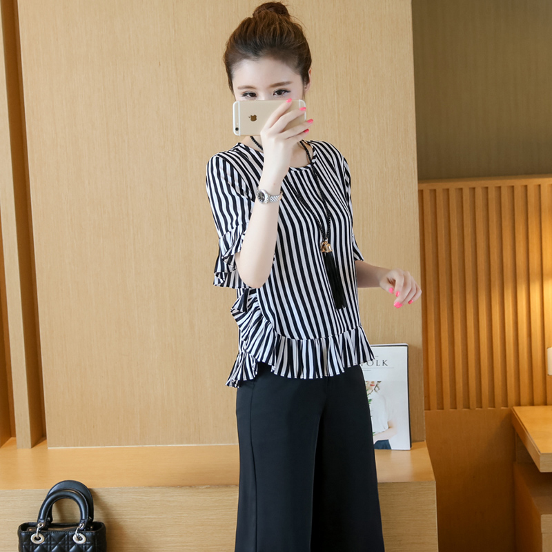 XL -4XL New women's clothing big yards wide leg korean fashion stripe pleated chiffon blouse suits summer two-pcs set loose 3