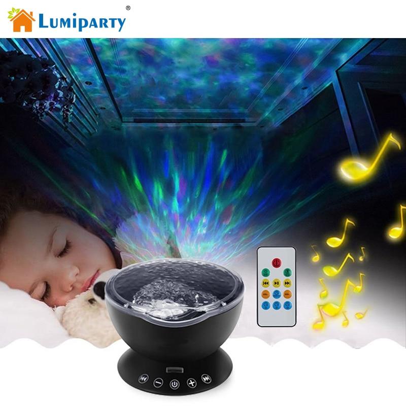 LumiParty Ocean Wave Music Proyector LED Luz de Noche Calmante Wave Lámpara de Techo con Altavoces y mando a distancia para Cuarto de niños