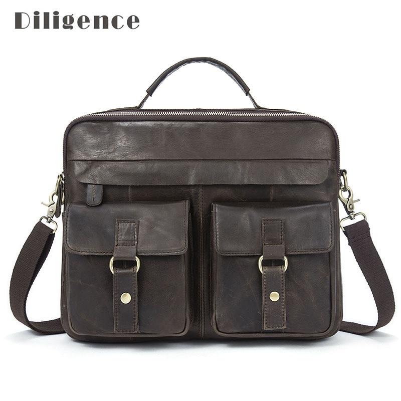Leather Handbags Genuine Cowhide Laptop For Men Shoulder Bags Crossbody Travel Bag For Mans Totes Man Briefcase