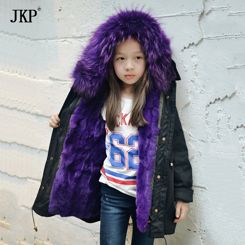 New Girls Fur Coat Baby kids Outerwear Rabbit Fur Liner Children Coats & Jackets For Boy and girl Cold Winter Warm Coat TZ43 winter fashion kids girls raccoon fur coat baby fur coats