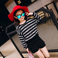 Children's Clothing Autumn Winter New Girls Round Collar Pure Color Korean Baby Kids Sweaters Black Blue Stripe Kintting