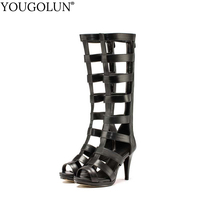 YOUGOLUN Phụ Nữ Mùa Hè Khởi Động Đầu Gối Cao PU Hollow Sexy Roman nữ Gót Mỏng Người Phụ Nữ Thanh Lịch Dây Kéo Màu Đen Peep toe Shoes # A-075