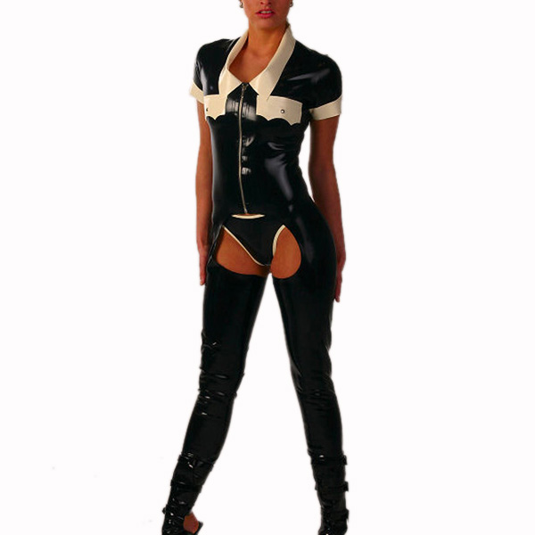 Buy 0.4mm Thickness Latex Rubber Uniform Catsuit Sexy Costumes Front Zip Bodysuit Latex Tights Latex Breifs