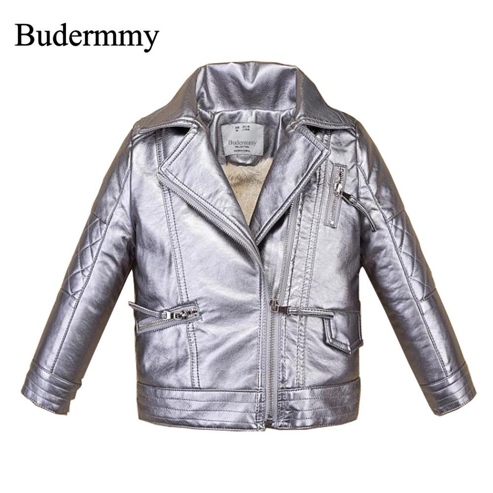 Girls Coats 2017 New Style Fashion Design Jackets Pink Silver Faux Leather Jackets Autumn Winter Thicken Children's Jackets Girl
