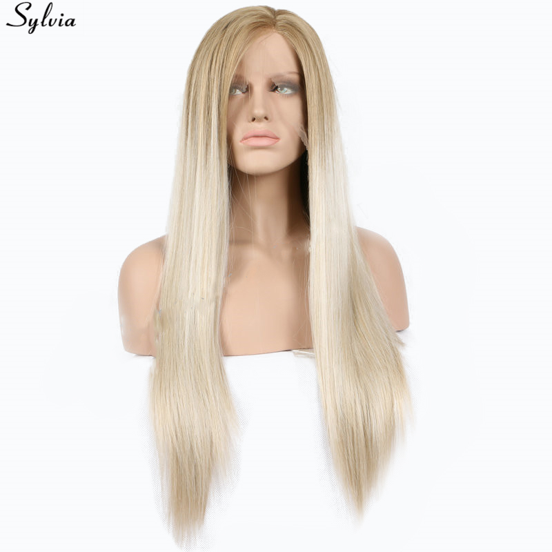 buy sylvia silky straight ombre blonde gold dark root synthetic lace front wig. Black Bedroom Furniture Sets. Home Design Ideas