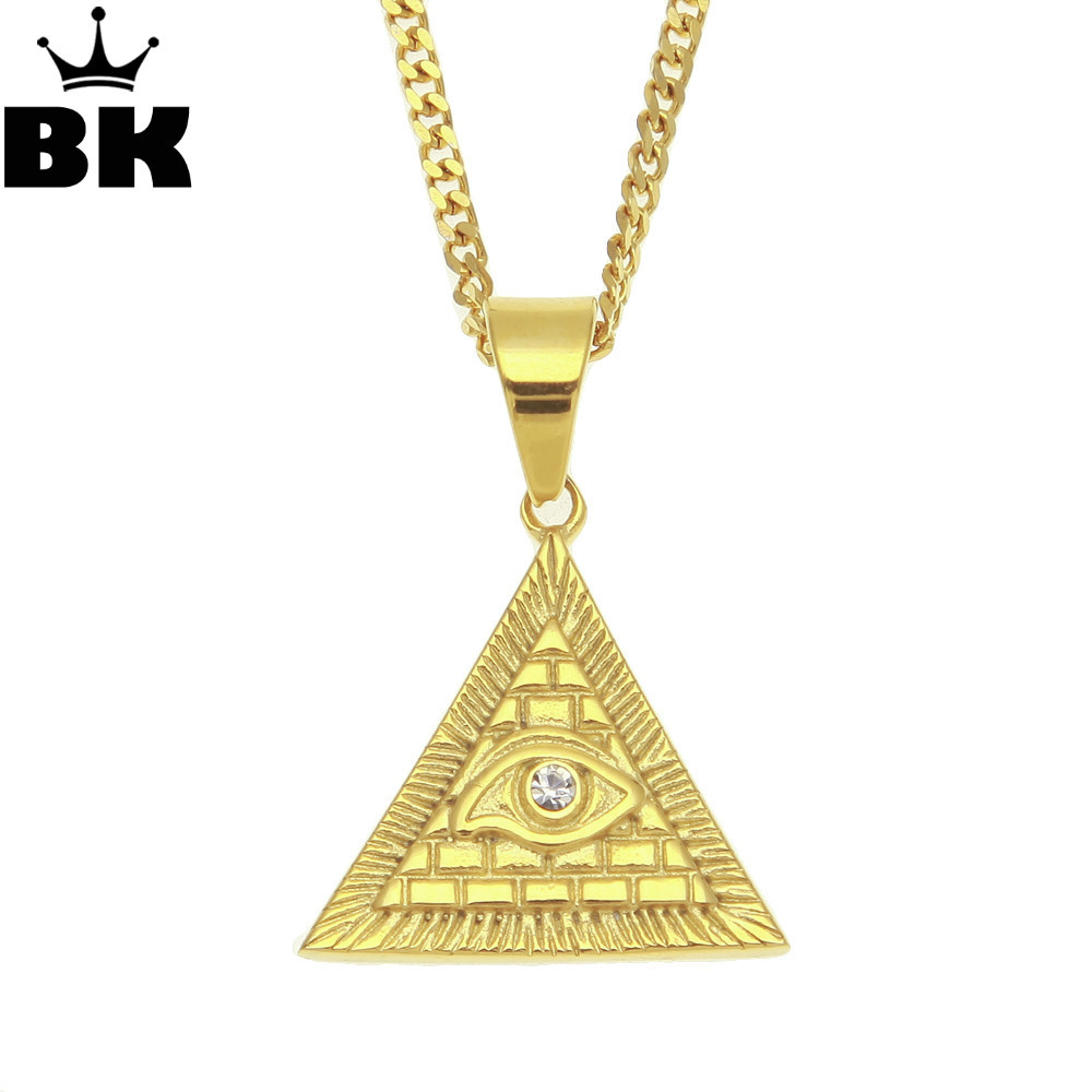Mens En Acier Inoxydable Gold Tone Charme Hip Hop Oeil de Horus Pyramide Égyptienne Pendentif Égyptien Kemetic Bijoux en Strass