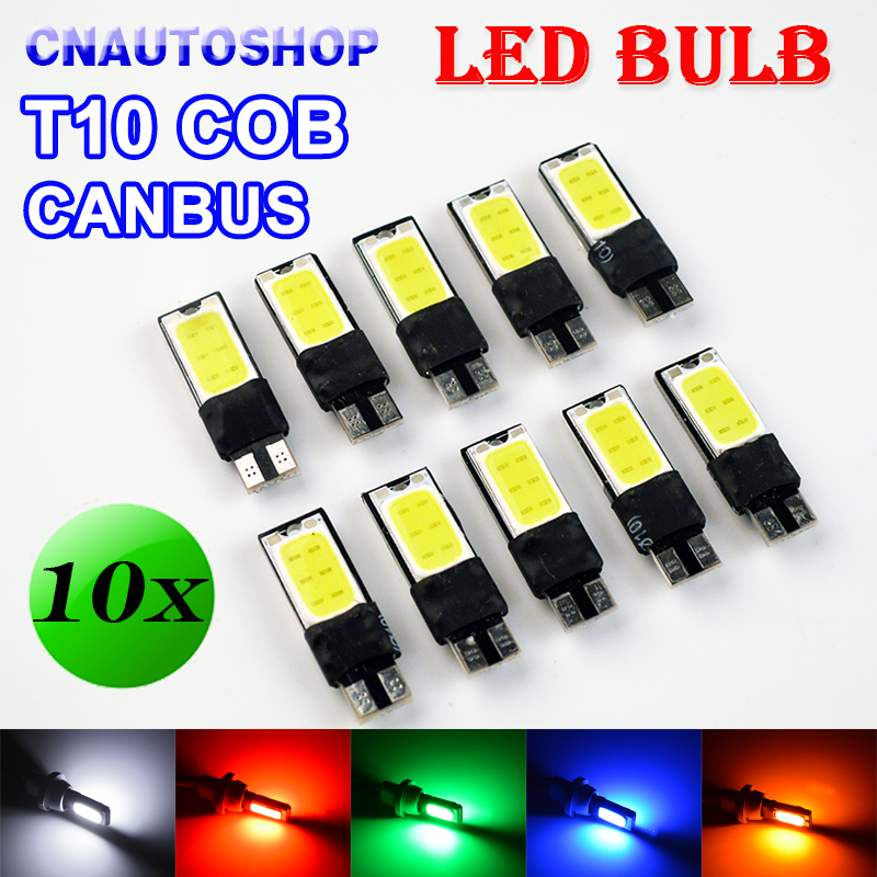 flytop CANBUS LED Bulb COB T10 194 W5W Error Free Car Bulbs CAN BUS Lights Auto Lamps White Red Green Blue Yellow Color (10 PCS) carprie super drop ship new 2 x canbus error free white t10 5 smd 5050 w5w 194 16 interior led bulbs mar713