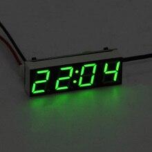 Автомобильные электрические часы, цифровой таймер, светодиодный индикатор температуры, запчасти для авто, термометр, вольтметр, светодиодный дисплей, зеленый, синий, красный светильник