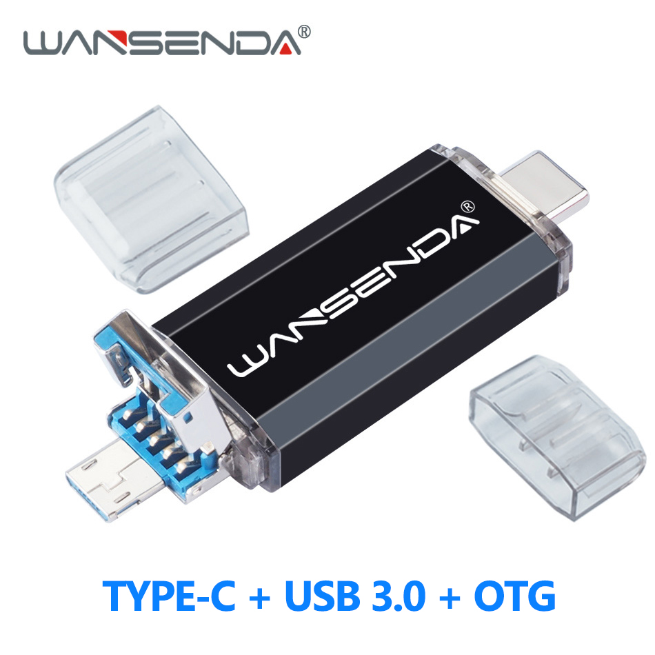 WANSENDA OTG 3 In 1 USB 3.0 Flash Drive Type-C USB Stick Pendrive 32GB 64GB 128GB 256GB 512GB Pen Drive For Android Mobile/PC