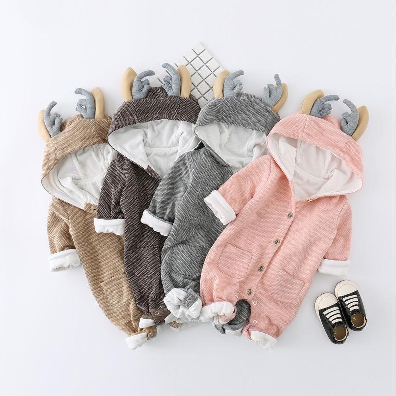 Newborn Baby Girls Clothes Hooded Rompers Winter Thick Warm Elk Ear Baby Boys Romper Cartoon Christmas Baby Clothes Overalls