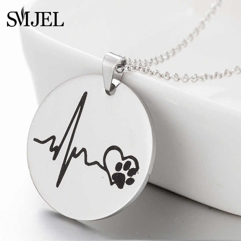 SMJEL Heartbeat Pet Paw Footprint Necklaces Cute Animal Dog Cat Love Heart Pendant Necklace For Women Girls Jewelry Necklace