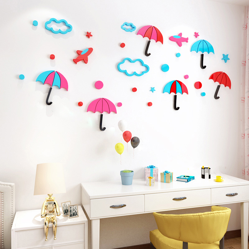Us 16 22 Colorful Little Umbrella Acrylic Stickers Diy Wall Sticker For Nursery School S Room Tv Living Decoration In