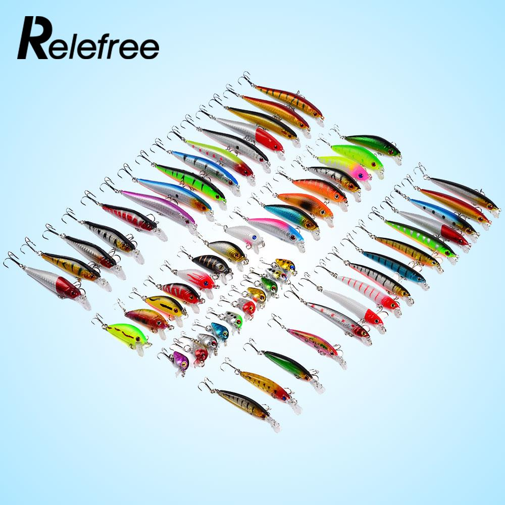 56pcs/set Mixed Fishing Minnow Lures Artificial Crank Bait Treble Hook Tackle mixed set 5 8g 13 81g classic frog mouse soft fishing lure crank bait bass tackle hook plastic crank baits double claw like hook