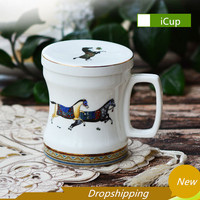 Office Coffee mug Water Cup Afternoon tea cup With Spoon Lid Creative Bone china mug High Grade Ceramic Coffee Cup Free Shipping