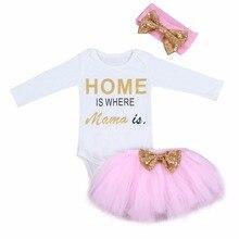3 шт. Одежда для новорожденных девочек и малышей с длинным рукавом дома печатных комбинезон кружевная юбка-пачка+ повязка на голову детская одежда комплект