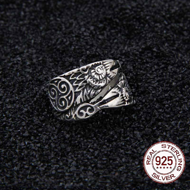 925 Sterling Silver Viking Odin Raven Hugin And Munin Ring Adjustable With Viking Wood Box As Gift