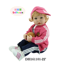 22″ Reborn Girl Bonecas Dolls for Girls with Blue Eyes Blonde Hair Toddler Baby Doll in Leisure Clothes Set of Christmas Gift
