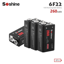 Soshine 4PCS New 6F22 PPP3 6LR61 Battery 260mAh Ni-MH 9.6 V Rechargeable Batteries For Smoke detectors Wireless Microphones