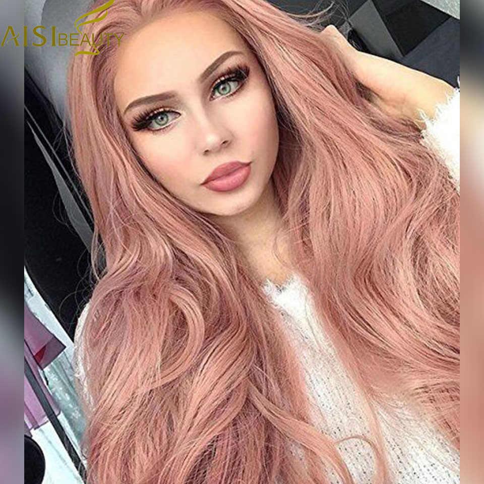 AISI BEAUTY натуральный длинный волнистый Розовый Плетеный парик принцессы из синтетического кружева спереди для женщин высокотемпературный волоконный костюм вечерние