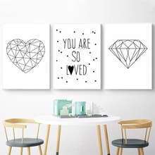 Cartoon Diamond Wall Art Canvas Painting Kids Poster Nursery Quotes Minimalist Posters And Prints Heart Baby Room Decor Unframed