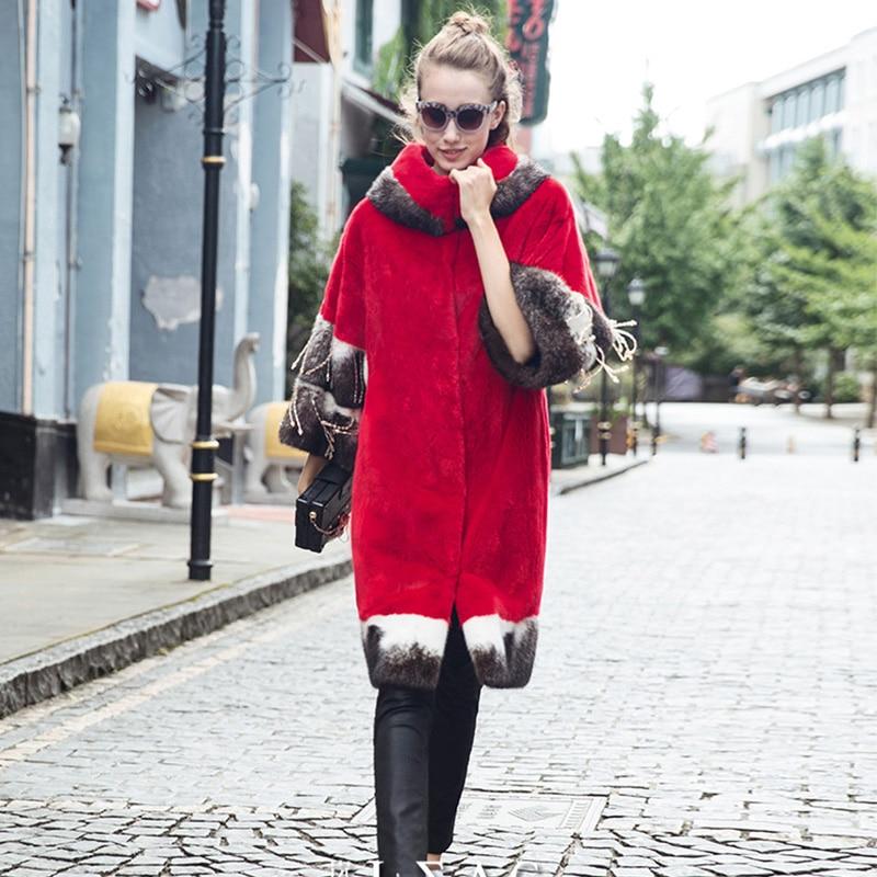 LVCHI 2019 Boho Nyata Mink Mantel Wanita Fashion Merah Lebar Pinggang - Pakaian Wanita - Foto 4