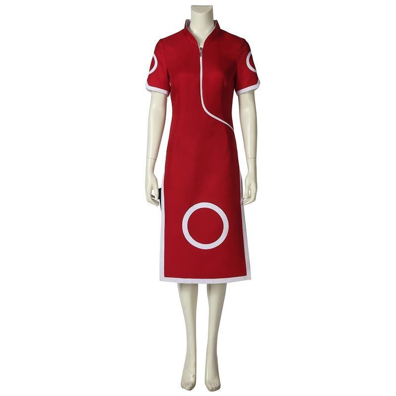 Anime Naruto Costume Haruno Sakura Cosplay Fancy Dress 1st Generation Cheongsam Red Uniform Halloween Carnival Dress Custom Made