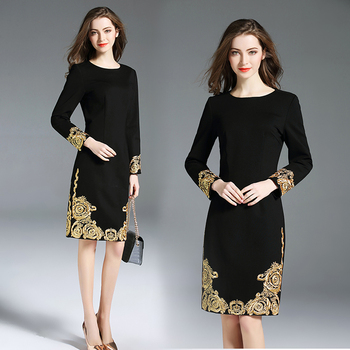2018 New Spring Summer Fashion Women's Clothing Flower Embroidery Solid Color Dress Long Sleeves O-Neck OL Dresses Female