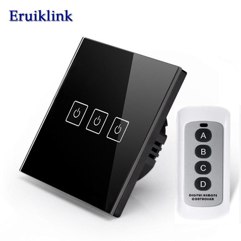 Eruiklin EU/UK Standard 3 Gang 1 Way Remote Control Touch Switch, RF433 Wireless Remote Control Wall Light Switch For Smart Home smart home eu touch switch wireless remote control wall touch switch 3 gang 1 way white crystal glass panel waterproof power