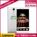 "Original Lenovo K5 Note Android 5.1 Mobile Phone MTK Helio P10 Octa Core Dual SIM 5.5""FHD 3G RAM 32G ROM Metal Body Fingerprint"