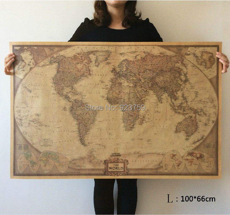 Choose size: The World Map Large Vintage Style Retro Paper Poster